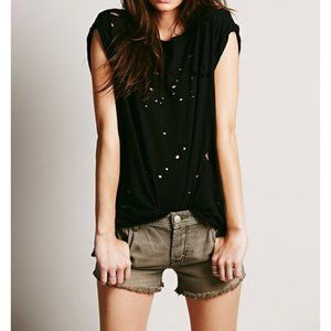 FP Destroyed Muscle Tee Cut-Outs Edgy Ripped Tank